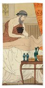 Application Of White Egyptian Perfume To The Hip Beach Towel by Joseph Kuhn-Regnier