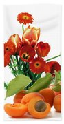 Apricots And Red Roses Beach Towel