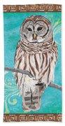 Aqua Barred Owl Beach Towel