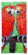 Ara Love A Moment Of Tenderness Between Two Scarlet Macaw Parrots Beach Towel