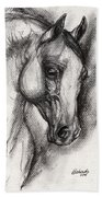 Arabian Horse Drawing 12 Beach Towel