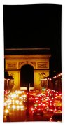 Arc De Triomphe At Night Beach Towel