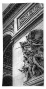 Arc De Triomphe In Black And White Beach Towel