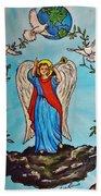 Archangel Gabriel Beach Towel