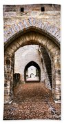 Arches Of Valentre Bridge In Cahors France Beach Towel