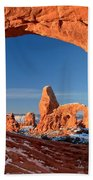 Arches Window Frame Beach Towel