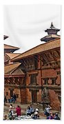 Architecture Of Patan Durbar Square In Lalitpur-nepal Beach Towel