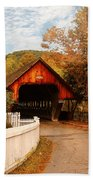 Architecture - Woodstock Vt - Entering Woodstock Beach Towel by Mike Savad