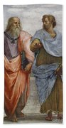 Aristotle And Plato Detail Of School Of Athens Beach Towel