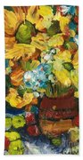 Arizona Sunflowers Beach Towel by Sherry Harradence