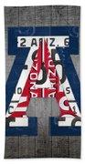 Arizona Wildcats College Sports Team Retro Vintage Recycled License Plate Art Beach Towel