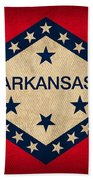 Arkansas State Flag Art On Worn Canvas Beach Towel by Design Turnpike