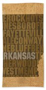 Arkansas Word Art State Map On Canvas Beach Towel