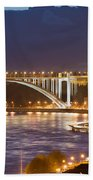 Arrabida Bridge At Night In Porto And Gaia Beach Towel