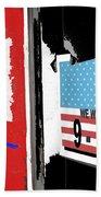 Art Homage Jasper Johns American Flag 9-11-01 Memorial Collage Barber Shop Eloy Az 2004-2012 Beach Towel