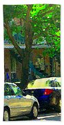 Art Of Montreal Day With Daddy And Yellow Wagon Zooming Our Streets Of Verdun Scene Carole Spandau  Beach Towel