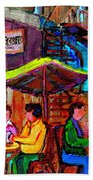 Art Of Montreal Enjoying A Pint At Ye Olde Orchard Irish Pub And Grill Monkland Village Cafe Scenes Beach Towel