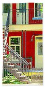Art Of Montreal Upstairs Porch With Summer Chair Red Triplex In Verdun City Scene C Spandau Beach Towel