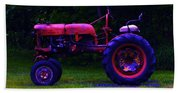 Artful Tractor In Purples Beach Towel