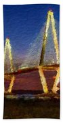 Arthur Ravenel Bridge At Evening  Beach Towel