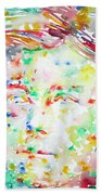 Arthur Rimbaud Watercolor Portrait Beach Towel