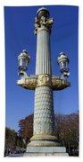 Artistic Lamp Post At The Place De La Concorde In Paris France Beach Towel