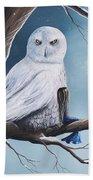 White Snow Owl Painting Beach Towel