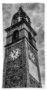 Ascona Clock Tower Bw Beach Towel