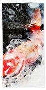 Asian Koi Fish - Black White And Red Beach Towel