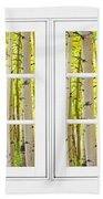 Aspen Forest White Picture Window Frame View Beach Towel