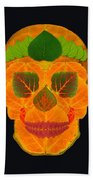 Aspen Leaf Skull 3 Black Beach Towel