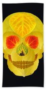 Aspen Leaf Skull 4 Black Beach Towel