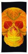 Aspen Leaf Skull 6 Black Beach Towel