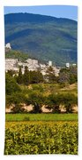 Assisi From The Sunflower Fields Beach Towel