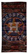 Astros Baseball Graffiti On Brick  Beach Towel by Movie Poster Prints