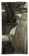 At The Helm Black And White Sepia Beach Towel