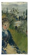 At The Meadow. Vetheuil Beach Towel