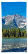 Athabasca River With Mountains Beach Towel