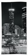 Atlanta Panoramic Black And White Beach Towel