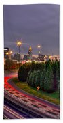 Atlanta Sundown Night Lights Art Beach Towel