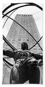 Atlas In Rockefeller Center Beach Towel