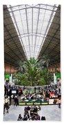 Atocha Railway Station Interior In Madrid Beach Towel
