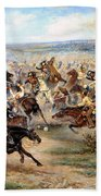 Attack Of The Horse Regiment Beach Towel by Victor Mazurovsky