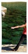 Attractive Woman Doing Yoga Beach Towel