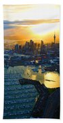 Auckland Oil On Canvaz Beach Towel