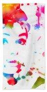 Audrey Hepburn Paint Splatter Beach Towel
