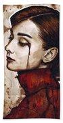 Audrey Hepburn Portrait Beach Sheet