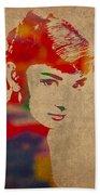 Audrey Hepburn Watercolor Portrait On Worn Distressed Canvas Beach Towel