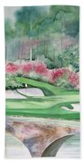 Augusta National 12th Hole Beach Towel by Deborah Ronglien