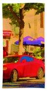 Aupres De Ma Blonde Resto Bar Terrasse Rue St Denis Montreal Cafe Street Scene Art Carole Spandau Beach Towel